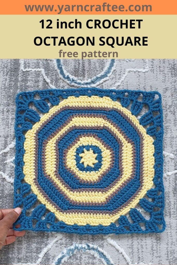12 inch Crochet Octagon Square- Pin