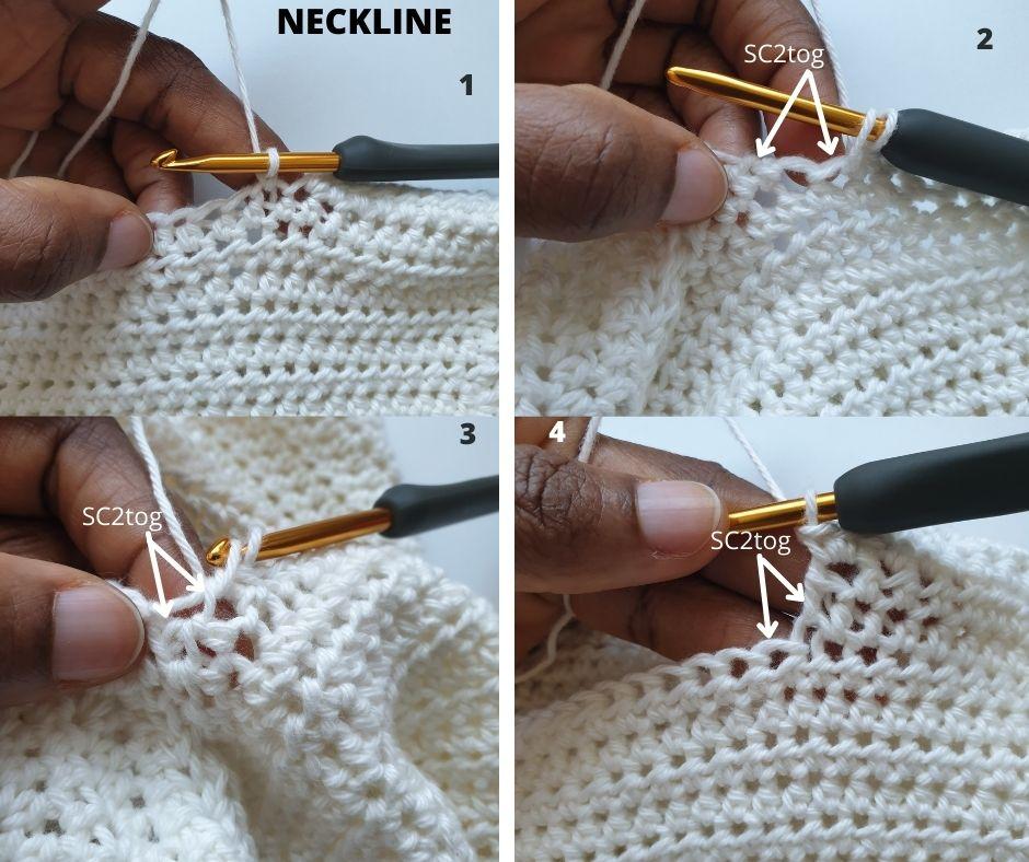 Summer crochet boys tank top pattern-neckline