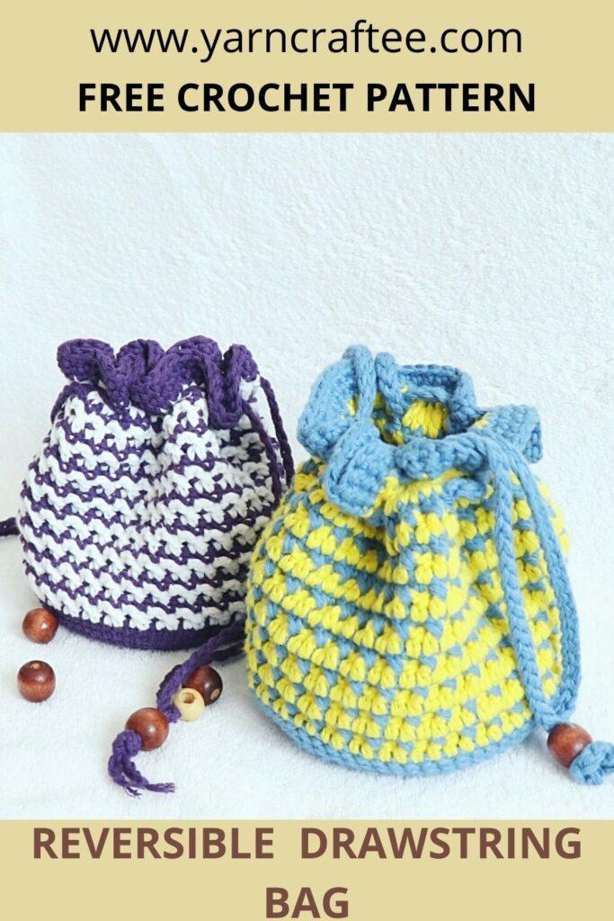 Crochet Drawstring Bag-Pin
