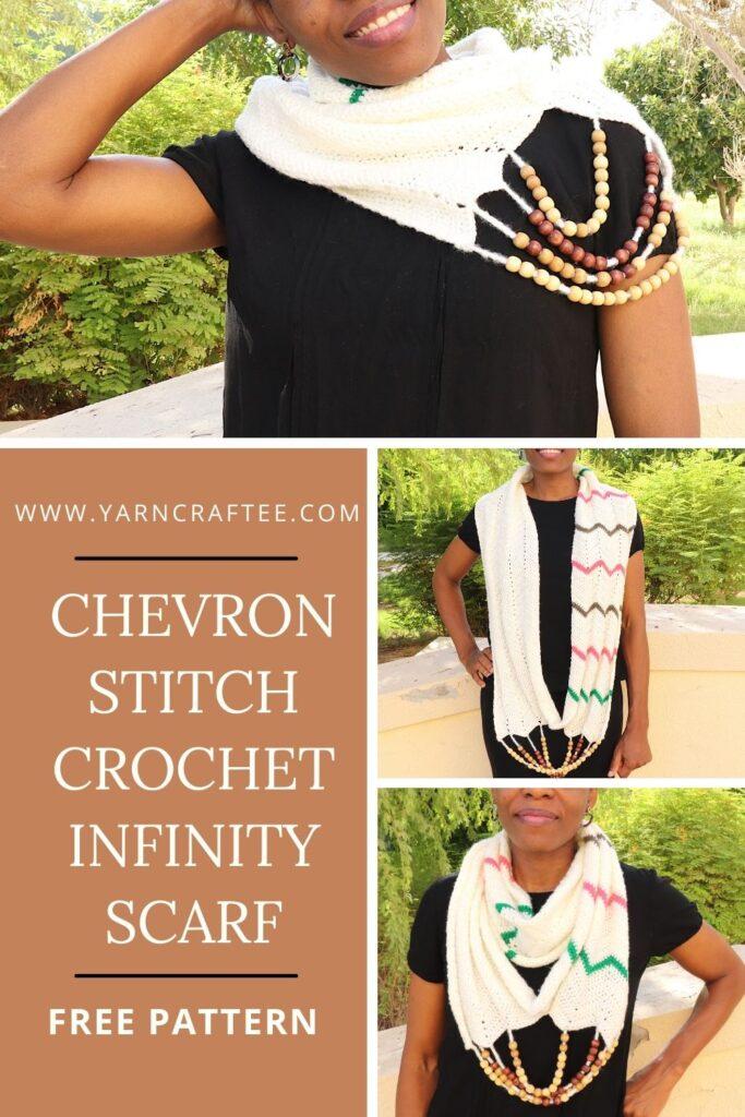 Chevron Stitch Crochet Infinity Scarf Pattern-Pin